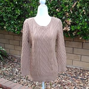 Loft cable knit scoop neck sweater in beige, Med